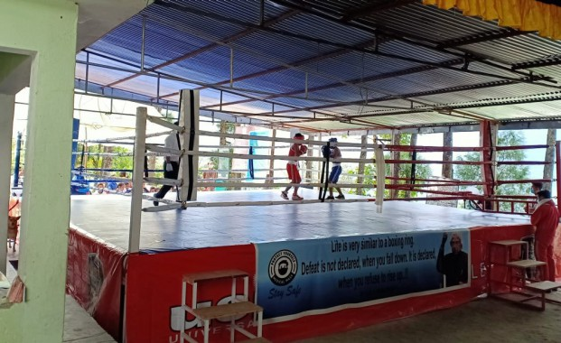 Boxing ring installed at Mangshila