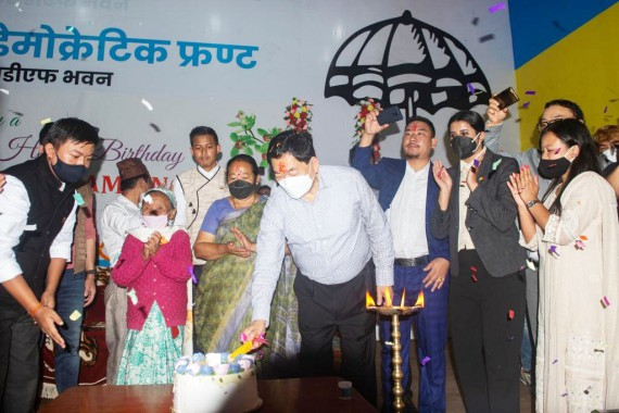 Chamling turns 72, spends day with party workers at SDF Bhawan